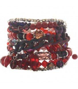 Multistrengs rood gekleurde armband met magneet sluiting