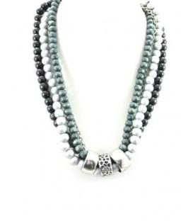 Mooie grijze kralen halsketting