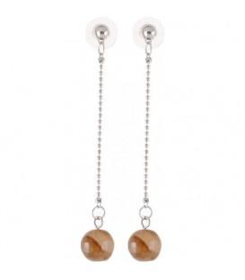Lichtbruine oorbellen met natuursteen kraal