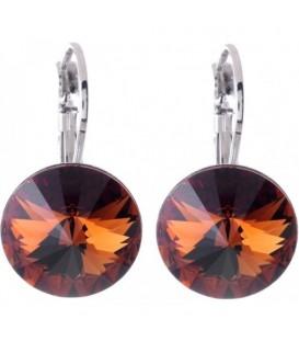 Swarovski oorbellen met donkerbruine strassteen 12 mm