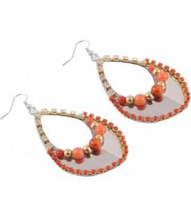 Oorbellen met oranje kralen en heldere strass