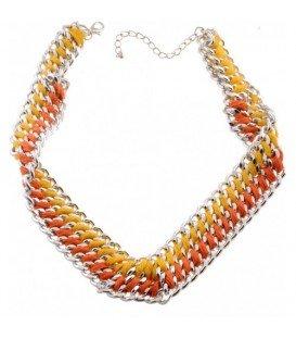 Geel oranje metalen schakelhalsketting