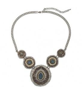 Grijze halsketting met parels en strass