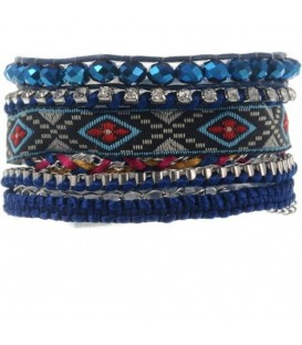 Multistrengs blauwe armband ibiza style