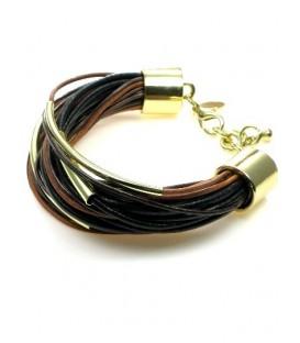 Leren koord armband met goudkleurige staafjes