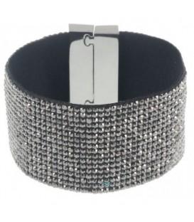 Armband met antraciet kleurige strass steentjes