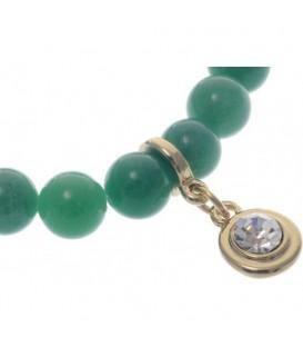 Armband van groene natuursteen kralen (Agaat)