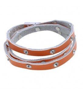 Oranje wikkelarmband met strasstenen