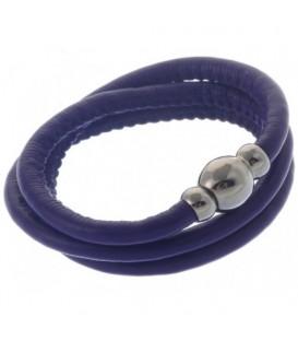 Armband van paars kunstleer en magneet sluiting