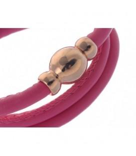 Armband van roze kunstleer en magneet sluiting