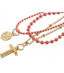 Roze armband met 3 strengen, kruis en bedel