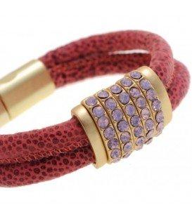 Roze armband met magneetsluiting en strass steentjes