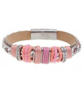 Roze armband met zilverkleurige accenten en strass steentjes
