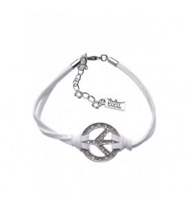 Armband van wit kunstleer met peace teken