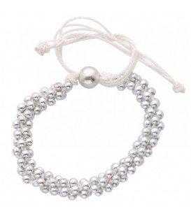 Witte koord armband met zilverkleurige kralen (verstelbaar)