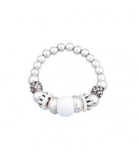 Zilverkleurig elastische armband met witte kralen