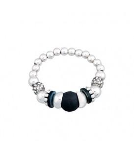 Zilverkleurig elastische armband met zwarte kralen
