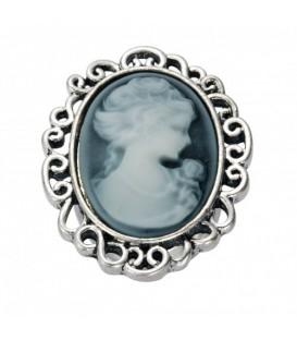 Ring met ovale grijze camee (flexibel)
