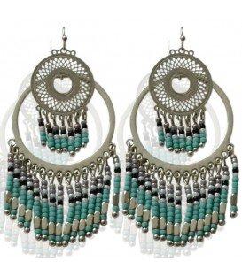 Mooie zilverkleurige oorbellen met mintgroene kralen