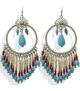 Blauwe ronde oorbellen met mooie kralen