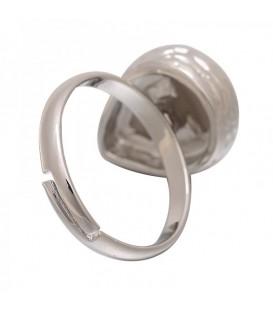 Zilverkleurige ring met grijze druppel steen (17 mm)