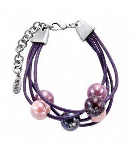 Paarse waxkoord armband met paarse keramische kralen
