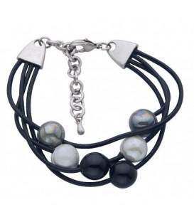 Zwarte waxkoord armband met zwarte en grijze keramische kralen