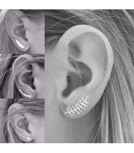 Zilveren (925) oorbellen (earline) in pijlvorm