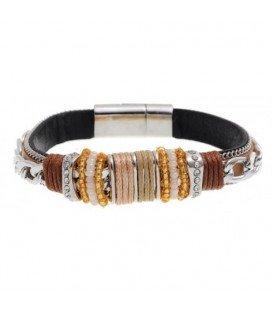 Bruine armband met zilverkleurige accenten en strass steentjes