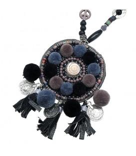 Zwarte lange boho halsketting
