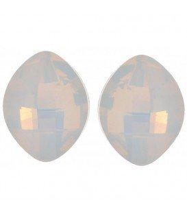 Witte facet glaskraal ovale oorbellen