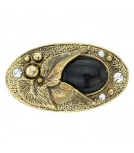 Mooie broche in antiek goudkleurig met strass stenen en zwarte acryl steen