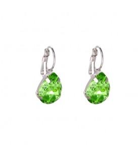 Mooie groene oorhangers met een heldere steen