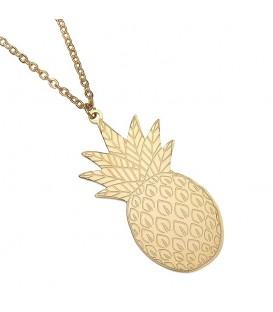 Goudkleurige halsketting met ananas hanger