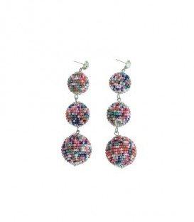 Gekleurde oorbellen met 3 ballen van kleine kraaltjes