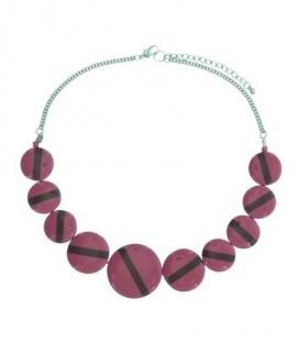 Roze gekleurde korte halsketting met platte ronde kralen