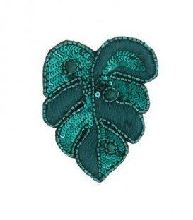 Mooie groene broche in blaad vorm met pailletjes