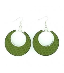 Groene ronde oorbellen met ruitvormig patroon