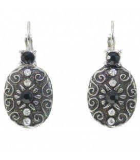 Zwarte oorbellen in vintage design met steentjes