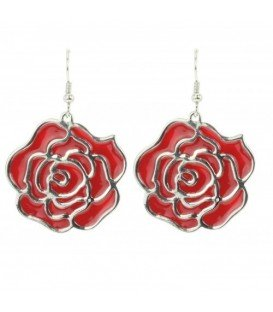 Rode roos oorbellen