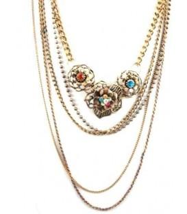 Halsketting met bloemen en bijpassende goudkleurige armband