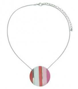Korte halsketting met ronde roze met rode hanger