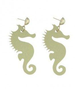 Goudkleurige oorbellen met een zeepaardje