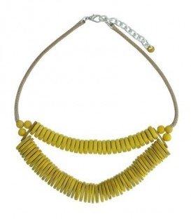 Gele korte koord halsketting met disc kralen