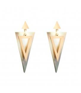Goudkleurige oorbellen met parelmoer in driehoeksvorm