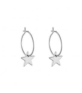 Zilverkleurige trendy gold plated oorbellen met als hanger een ster