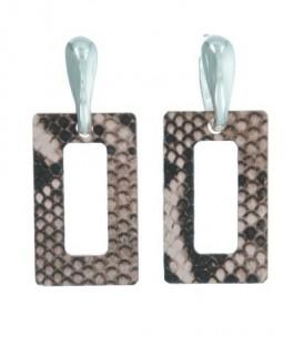 Oud roze oorbellen met vierkante hanger met print