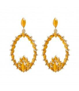 Prachtige gele oorbellen met strasssteentjes