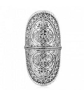Boho style lange zilverkleurige ring (16 mm)