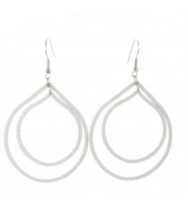 Witte metalen oorbellen met 2 ovale hangers